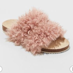 Women's Ember Two Band Faux Fur Slide Sandals - 9